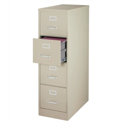"""WorkPro® 25""""D Vertical 4-Drawer File Cabinet, Metal, Putty"""