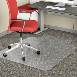 """Realspace™ Chair Mat For Thin Commercial-Grade Carpets, Advantage, Standard Lip, 36""""W x 48""""D, Clear"""