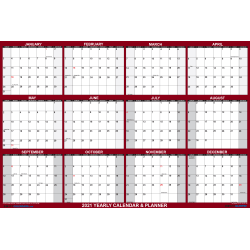 """SwiftGlimpse 2-Sided Yearly Erasable Wall Calendar, 32"""" x 48"""", Burgundy/Maroon, January To December 2021"""