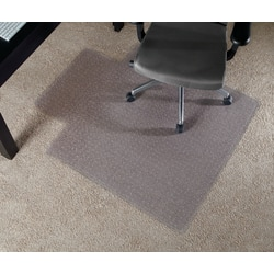 """Realspace™ Wide-Lip Chair Mat For Thin Commercial-Grade Carpets, Economy, 46""""W x 53""""D, Clear"""
