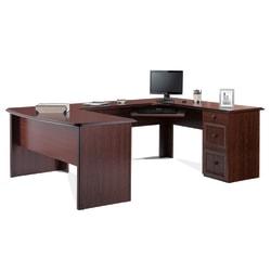 """Realspace® Broadstreet 65""""W U-Shaped Executive Desk, Cherry"""