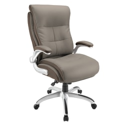 Realspace® Ampresso Bonded Leather Big And Tall High-Back Chair, Taupe/Silver