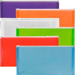 "JAM Paper® Plastic Wallet Envelopes With Zipper Closures, #10, 5"" x 10"", Assorted Colors, Pack Of 6 Envelopes"