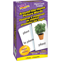 """Trend® Spanish Skill Drill Flash Cards, """"Around-The-Home Spanish Picture Words"""", Box Of 96 Cards"""