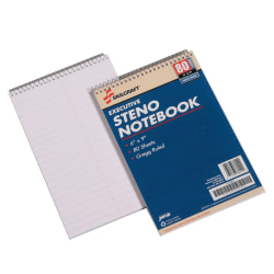 """50% Recycled Steno Notebooks, 6"""" x 9"""", Gregg Ruled, 80 Pages (40 Sheets), White/Blue, Pack Of 12 (AbilityOne 7530-00-223-7939)"""