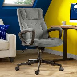 Serta® Microfiber High-Back Chair, Velvet Gray/Black