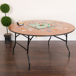 "Flash Furniture Round Folding Banquet Table, 30""H x 60""W x 60""D, Natural/Black"