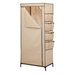 "Honey-Can-Do Portable Cloth Wardrobe, 62 1/4""H x 27 3/16""W x 18 1/8""D, Khaki"