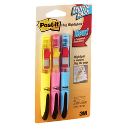 Post-it® Flag Plus Highlighters, Assorted Colors, Pack Of 3