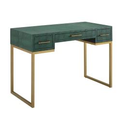 "Southern Enterprises Carabelle 2-Drawer Faux Alligator 43""W Desk With Keyboard Tray, Emerald/Gold"