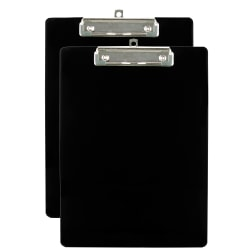 "Office Depot® Brand Plastic Clipboards, 8 1/2"" x 11"", Black, Pack Of 2"
