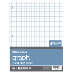 "Office Depot® Brand Quadrille-Ruled Notebook Filler Paper, 8"" x 10 1/2"", White, Pack Of 80 Sheets"