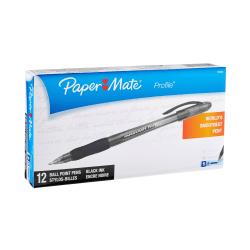Paper Mate® Profile® Ballpoint Stick Pens, Bold Point, 1.4 mm, Translucent Black Barrel, Black Ink, Pack Of 12
