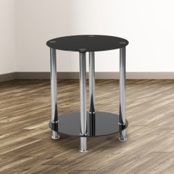 """Flash Furniture Round End Table With Bottom Shelf, 19-1/2""""H x 15-3/4""""W x 15-3/4""""D, Black/Silver"""