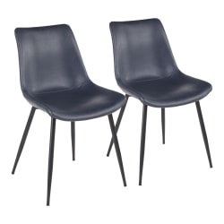 LumiSource Durango Dining Chairs, Black/Blue, Set Of 2 Chairs
