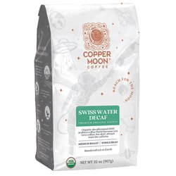 Copper Moon® World Coffees Whole Bean Coffee, Swiss Water Decaf Organic, 2 Lb, Carton Of 4 Bags