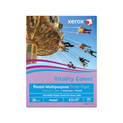 "Xerox® Vitality Colors™ Multi-Use Printer Paper, Letter Size (8 1/2"" x 11""), 20 Lb, 30% Recycled, Lilac, Ream Of 500 Sheets"