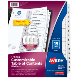 Avery® Ready Index® 20% Recycled Table Of Contents Dividers, 1-15 Tab, Black/White