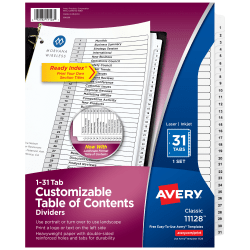 Avery® Ready Index® 20% Recycled Table Of Contents Dividers, 1-31 Tab, Black/White