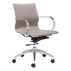 Zuo Modern® Glider Low-Back Office Chair, Taupe/Chrome