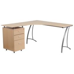 Flash Furniture Contemporary Laminate L-Shape Desk With 3-Drawer Pedestal, Beechwood