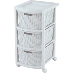 Rimax Rolling Storage Cart, 3-Drawer, White