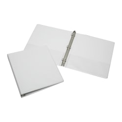 """SKILCRAFT® Clear Overlay 3-Ring Binder, 1"""" Round Rings, 30% Recycled, White (AbilityOne 7510-01-203-4708)"""