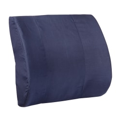 "DMI Memory Foam Lumbar Pillow Back Support Cushion, 3""H x 14""W x 13""D, Navy Blue"