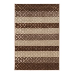 """Linon Home Décor Products Banyon Area Rug, Wonsky Stripes, 5' x 7' 6"""", Beige/Brown"""