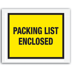 "Office Depot® Brand ""Packing List Enclosed"" Envelopes, Full Face 7"" x 5 1/2"", Yellow, Pack Of 1,000"