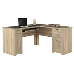 "Realspace® Magellan 59""W L-Shaped Desk, Blonde Ash"