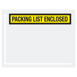 "Office Depot® Brand ""Packing List Enclsoed"" Envelopes, Panel Face, 7"" x 5 1/2"", Yellow, Pack Of 1,000"
