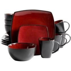 "Gibson Home Soho Lounge 16-Piece Dinnerware Set, Red - Dinner Plate, Dessert Plate, 6.25"" Diameter Bowl, 12 fl oz Mug - Stoneware - Dishwasher Safe - Microwave Safe - Red, Burgundy, Black - Reactive Glaze"