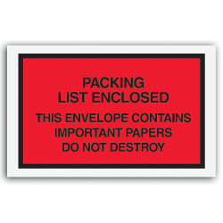 """Packing List Envelopes, 7"""" x 6"""", Red, Pack Of 1,000"""