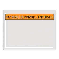"""Office Depot® Brand """"Packing List/Invoice Enclosed"""" Envelopes, Panel Face, 4 1/2"""" x 5 1/2"""", Orange, Pack Of 1,000"""