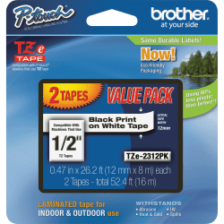 "Brother® TZe-231 Black-On-White Tapes, 0.5"" x 26.2', Pack Of 2"