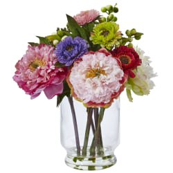 "Nearly Natural 10-1/2""H Plastic Peony And Mum Arrangement With Glass Vase, Pink"