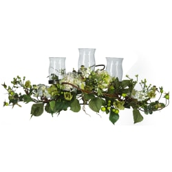 "Nearly Natural Hydrangea Triple Candelabrum Centerpiece, 12-1/2""H x 28-1/2""W x 10""D, Cream"