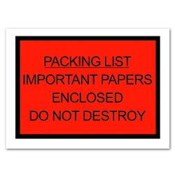 """Office Depot® Brand """"Packing List Important Papers Enclosed Do Not Destroy"""" Envelopes, Full Face, 4 1/2 x 6"""", Red, Pack Of 1,000"""