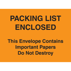 "Tape Logic® ""Important Papers Enclosed"" Envelopes, 4 1/2"" x 6"", Orange, Case of 1000"