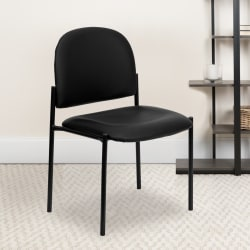 Flash Furniture Vinyl Comfortable Stackable Steel Side Chair, Black