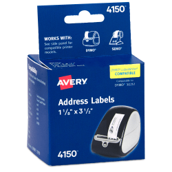 """Avery® Thermal Permanent Address Labels For Label Printers, 4150, 1 1/8"""" x 3 1/2"""", White, Box Of 260"""