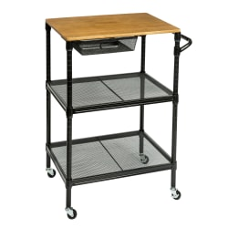"""Honey Can Do Kitchen Cart, With Wheels, 36""""H x 18""""W x 28""""D, Black"""