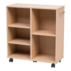 "IRIS 26""H 5-Shelf Wide Rolling Shelf, Light Brown"