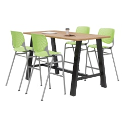"""KFI Midtown Bistro Table With 4 Stacking Chairs, 41""""H x 36""""W x 72""""D, Kensington Maple/Lime Green"""