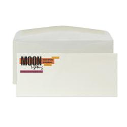 "Custom #10 Full Color Raised Print Stationery Envelopes With Moisture/Gum-Seal, 4-1/8"" x 9-1/2"", Natural White Woven, Box Of 250 Envelopes"