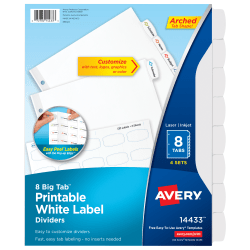 """Avery® Easy Peel® Pop-up Edge® Label Dividers, 8 1/2"""" x 11"""", 8-Tab, White, Pack Of 4"""