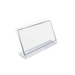 """Azar Displays Acrylic L-Shaped Sign Holders, 6"""" x 4"""", Clear, Pack Of 10"""