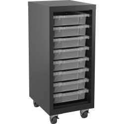 Lorell Pull-out Bins Mobile Storage Tower, Black/Clear
