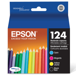 Epson® 124, (T124120-BCS) DuraBrite® Ultra Moderate-Capacity Black/Color Ink Cartridges, Pack Of 4